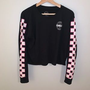 Hollister // Black Graphic Checkered Top
